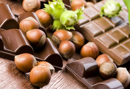 Chocolate and hazelnuts - chocolate, hazelnuts, photography, dark, sweet