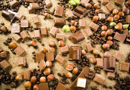 Pick up chocolate - chocolate, sweet, hazelnuts, coffee beans