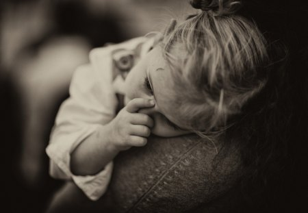 TENDERNESS ... - little girl, cute, portrait, emotions, child, photography, bw, tired, tenderness