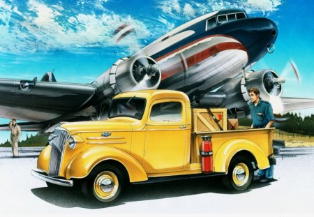 1937 CHEVROLET PICKUP - vehicles, cars, aircraft, chev, vintage, planes, trucks