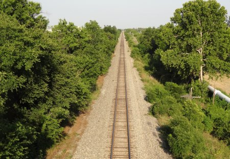Looking Down The Tracks - tracks, railroad, trees, rocks, railroad tracks