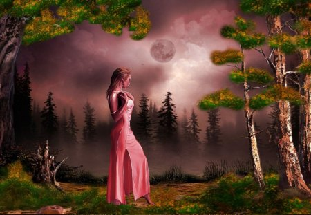 misty night - fantasy, pine trees, girl, moon, lady, misty
