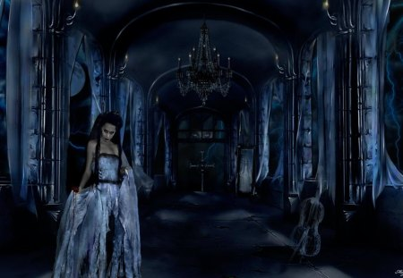 blue goth - blue, gothic, goth, night