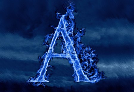 A - blue, a, flame, photoshop