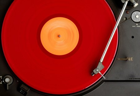 DJ turntable - red, disco, turntable, dj