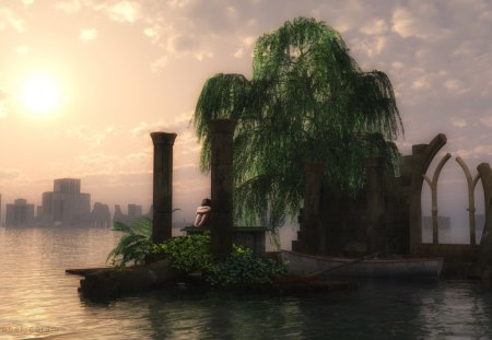 the last land - island, sunset, ruins, reflections, child