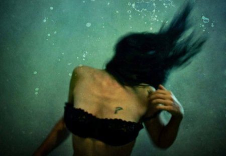 ? - body, black, underwater, wall, brunette, dark, water, wallpaper, woman, image, tattoo, pic, hair, picture, fantasy