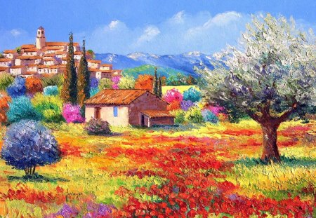 South of france - nature, france, city, paint