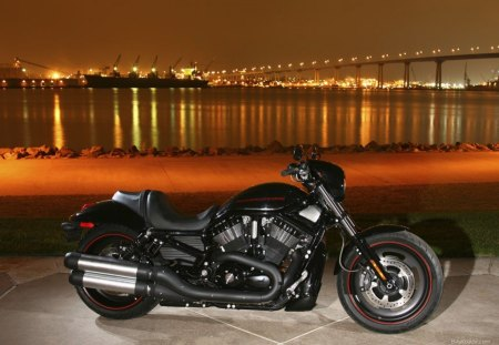 Harley Davidson In The City - motorcycle, in the city, harley davidson, city, night
