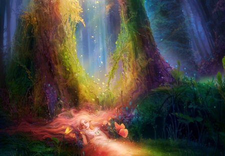 Magical colors in the forest - dreams, splendor, smart, colors, wonderful, magic, magical, tender, girl, fairyland, plants, fairy, butterflies, dream, peaceful, fantasy