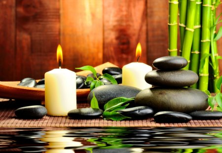 Spa candles - green, candles, reflection, beauty, leaves, water, relax, light, still life, spa, fire, stones, bamboo