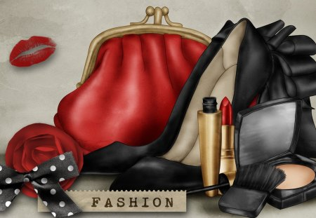 Womans World - clutch, powder, purse, magazine, fashionable, beauty, sexy, ribbons, fashion, lipstick, handbag, kiss, compact, mademoiselle, bow, red rose, glamour, lips, high heels