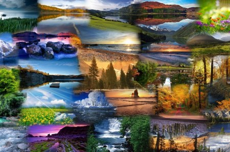 Natures Beauty - flowers, spring, river, fall, autumn, beach, lakes, sunsets, bay, mountains, forest, woods, weather, sunrise, summer, trees, season, sky, collage, clouds