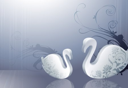 Abstract swans - swan, abstract, animal, artwork
