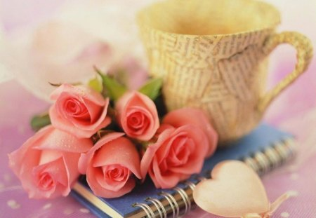 Romantic Notes - roses, pink, soft, love, coffee cup, heart, notes, romance