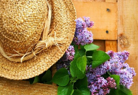 Freshly picked lilacs - pick, nice, summer, fence, hat, door, lovely, beautiful, lilacs, flowers, pretty, straw, fresh