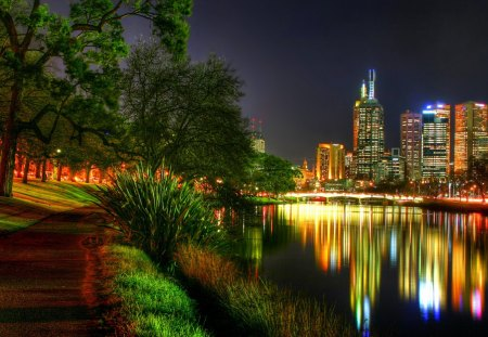City Lights - modern architecture, yarra river melbourne australia, river, city lights