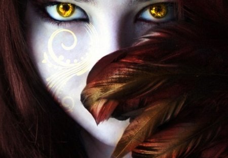 Scarlet Anarchy - girl, eyes, face, feathers, yellow