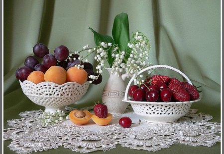 Fruits on a pretty table - fruit, eat, grape, health, food