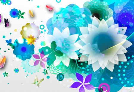 Blue Flower Abstraction - cool, summer, circles, colorful, aqua, floral, abstract, dots, blue, color, bright, blossoms, butterflies, turquoise, cyan