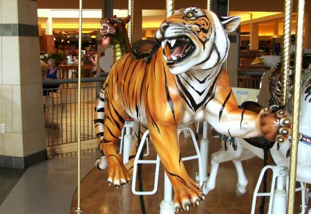Carousel -- Orange Tiger - carousel, lakeside shopping mall, architecture, pony, stairs, double decker, merry go rounds, horse, american bald eagle, amusement park, michigan, carouse1, hare, golden, orange and white tigers, sterling heights, bird, kitten, cat, zebra, rabbit