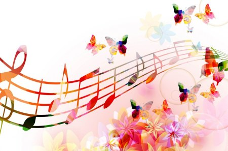 Melody of Butterfly Wings - flowers, song, spring, blooms, abstract, bright, blossoms, sing, bubbles, butterflies, musical notes, summer, colorful, floral, papillon, musical, play, instruments, nature, music