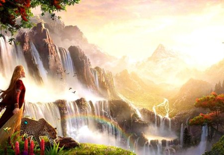In the regions of rainbows - animals, amazing, beautiful, waterfalls, tige, lovely, magical, girl, leopard, region, nature, rainbow