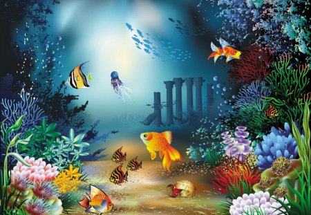 Under water - sea plants, waters, fish, under water, cartoon, corals, cute, painting, sea animals, algae, seabed, light, children, kids, world, sea, ocean