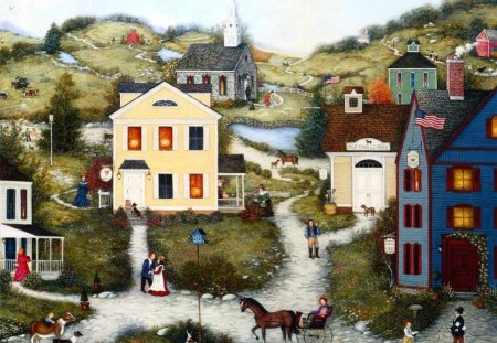 Americana Art - Old Dog Livery - folk, town, americana, settlers, painting, art, colony