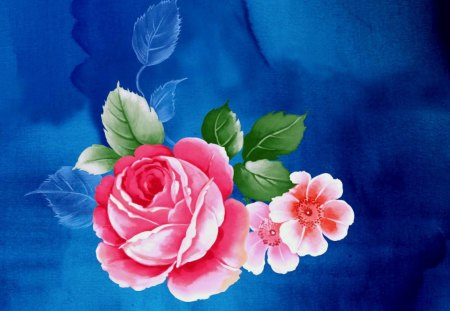 Rose art on blue - rose, red, art, paint
