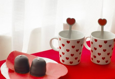 Love Tea - red, hearts, cup, tea