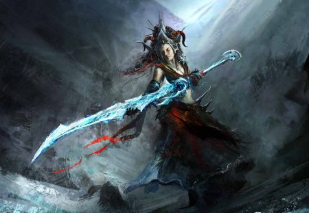 Sorceress - dark, weapon, warrior, fantasy
