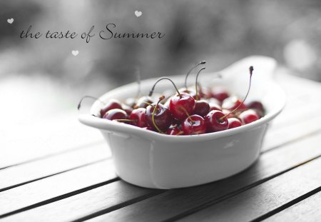 ... the taste of Summer - summer, cherries, bowl, black and white, words, heart, gingerbread-heart, fruit, taste, fruits, text