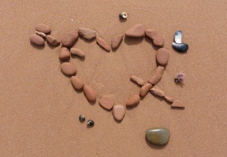 CROSS MY HEART - arrow, cupid, hearts, sand, stones, beach