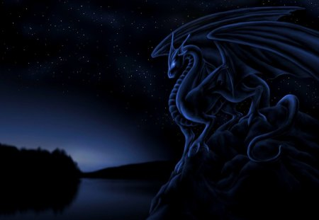 Dragon Monument - splendor, black, colors, beauty, dragon, night, stars, water, light, love, fantasy
