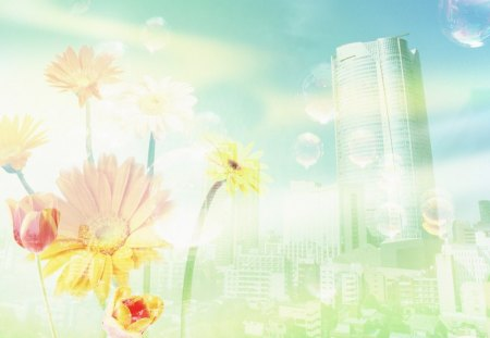 Eco Concept CG - Skyscraper and flowers, dreamy ethereal city - abstract, flowers, skyscraper, cg