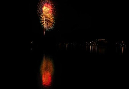 Fireworks Over Lake Placid NY - lake, other, sky, fireworks, nature