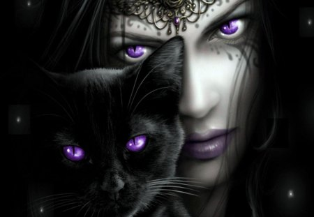 Girl with Lilacs Eyes - girl, lilac, eyes, cat, person