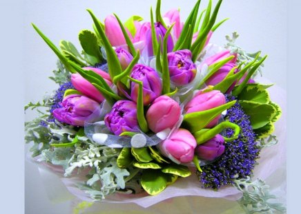 Flowers for charismatic - tulips, colors, pink, arrangement, flowers, green, purple, white