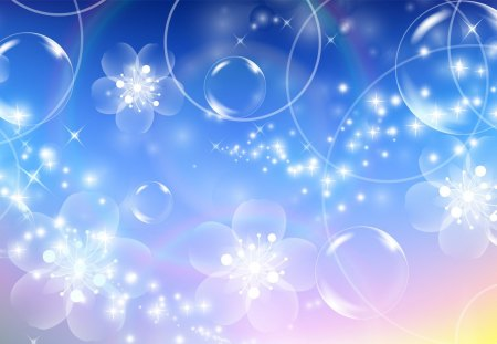 Rainbow Bubbles and Blossoms - flowers, light, blue, colors, pink, summer, bright, yellow, rainbow, spring, bubbles, pastel, blossoms, delicate