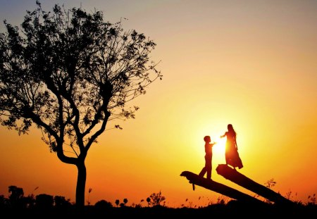 LOVE in SILHOUTTE - sunset, couple, tree, love, silhouette
