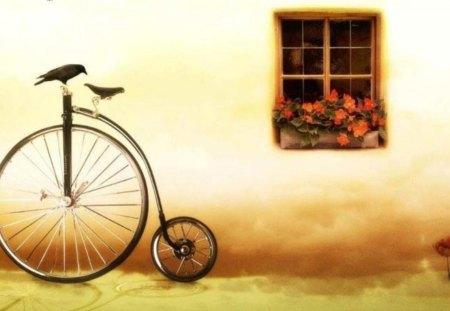 Digital still life - bicycle, digital, colors, image, still life, bike, pic, flowers, colours, picture, window