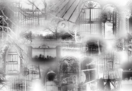 Gates of Goth - baroque, mysterious, black and white, goth, collalge, oeuvre, sfumato, dark, gothic, pastiche, bas-relief, rococo, limn, gates, fantasy