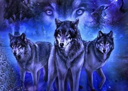 Spirit Of Brotherhood - fantasy, animals, other, wolves, abstract