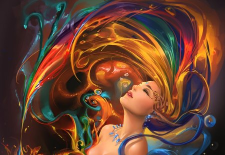 colorful hair whip - artistic, woman, fantasy, beauty