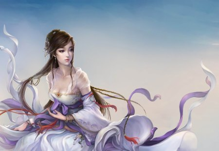 China Girl - cool, sky, cloud, long hair, ribbon, sexy, beauty, female, china girl, brown hair, 3d, hot, fantasy, dress, cg
