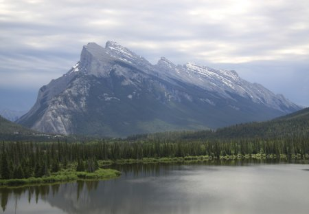 Mountains at Banff Alberta Canada - green, photography, trees, clouds, forests, nature, mountains, lakes