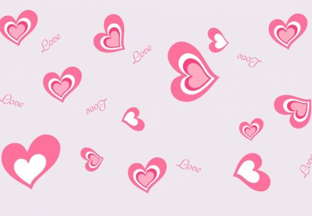 Pink Love Hearts - pink, bunch, abstract, love, pretty, hearts, valentines, many