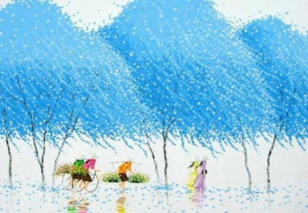 Blue Trees Painting - chinese, asian, blue, china, painting, art, trees