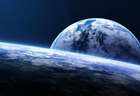 Space - space, blue, peaceful, stars, beauty, planet, view, lovely, beautiful, amazing, planets, splendor